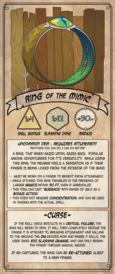 Homebrewing design Homebrew: Ring of The Mimic [OC][Art] : DnD Dnd Dragons, Dungeons And Dragons 5e, Dungeons And Dragons Homebrew, Fantasy Costco, Dnd Stats, The Mimic, Dnd Stories, Dungeon Master's Guide, Dnd Races