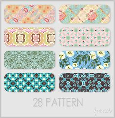 A thumbnail for a pack of patterns created by Ransie 3 on Deviantart. The thumbnail shows various patterns within the download showing how different and colorful many types of patterns can be. Some appear more aligned while others are more wild.  Source: http://ransie3.deviantart.com/art/Pattern-10-88937422