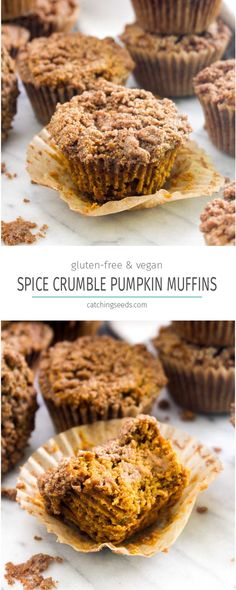 These Spiced Pumpkin Crumb Muffins recipe is a mix between a slice of pumpkin pie and a muffin and topped with a Fall spiced crumble! You will never believe this healthy muffin is gluten-free and vegan! | CatchingSeeds.com