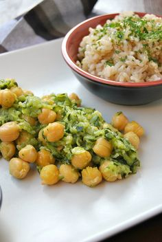 Zucchini and chickpea saute