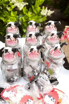 Mason Jar party favors with farm animals on top! Farm animal & red gingham ribbon & fabric.. & Include a bandana