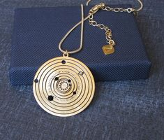 Solar system necklace - Planets - Astronomy pendant - Galaxy necklace - 24 karat gold plated