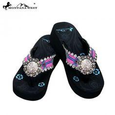 189deaa35edb2 Montana West Aztec Rhinestone Concho Flip Flops Western Sandals Shoes      More info could