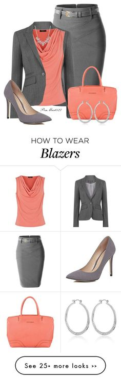 """Two of Two Peach/Gray"" by penny-martin on Polyvore"