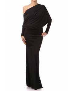 Womens Black Multi-Way CONVERTIBLE Infinity Dress One Shoulder Blouson Maxi Long Formal Gown