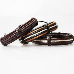 Bracelets en cuir Original Fait à la Main Mode Cuir Tissu Marron Noir café  Marron Blanc Autres Bijoux Regalos de Navidad Soirée Quotidien f8436ad2a7b