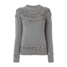 GUCCI Crystal Embroidery Sweater ($1,523) ❤ liked on Polyvore featuring tops, sweaters, grey, grey long sleeve top, gray top, grey top, embroidered sweaters and long sleeve tops