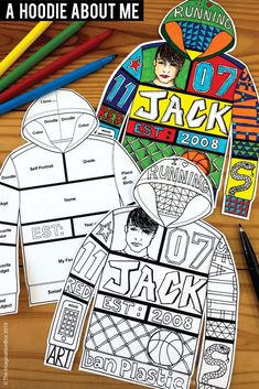 All About Me Back To School Fun Art Activity For Middle School Create a unique 'All About Me Hoodie'! This art and writing project is an easy back to school activity for the classroom. A great lesson plan for grade teachers to use as a f Back To School Activities, Art Activities, School Fun, Art School, High School, School Week, Back To School Art Activity, Primary School Art, Health Activities