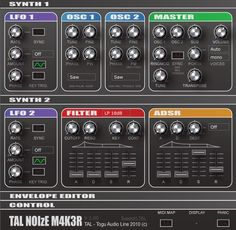 TAL-NoiseMaker is a FREE improved version of TAL-Elek7ro and has a completely new synth engine and a lot of improvements in sound and usability. The synth also includes a small effect section with a reverb, chorus and a simple bit crusher effect.