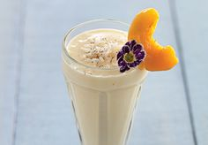 Walking on Sunshine, peach and apricot rice pudding smoothie