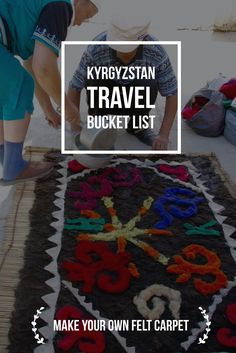 Want to make a unique carpet of natural materials? How about trending Kyrgyz felt carpets called Shyrdak? Watch the demonstration, bring your own design and learn about Kyrgyz ornaments Information Design, Travel Information, International Craft, Central Asia, Asia Travel, Handicraft, Make Your Own, Travel Inspiration, Natural Materials
