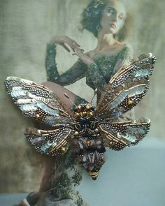 Image may contain: 1 person Bead Embroidery Jewelry, Beaded Embroidery, Beaded Jewelry, Brooches Handmade, Handmade Beads, Handmade Jewelry, Butterfly Gifts, Beautiful Bugs, Gifts For Nature Lovers