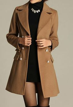 Double Breast Notched Collar Office Ladies Business Suit Coat Peacoat