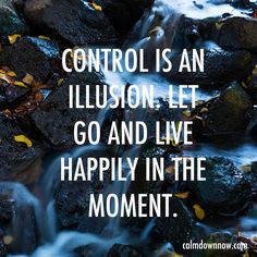 """Control is an illusion. Let go and live happily in the moment""  Inspiring #quotes and #affirmations by Calm Down Now, an empowering mobile app for overcoming anxiety. For iOS: http://cal.ms/1mtzooS For Android: http://cal.ms/NaXUeo"