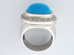 925 Sterling Silver ring centered with a genuine Strong Sky blue Turquoise which surrounded by Clear Cubic Zerconia. The turquoise measures mm inch. Size 6 is sold out and now available only size 9 in the stock, weights gram. Women's Jewelry, Womens Jewelry Rings, Jewellery, Gemstone Necklace, Turquoise Necklace, Gemstone Rings, Weights, Sterling Silver Rings, Opportunity