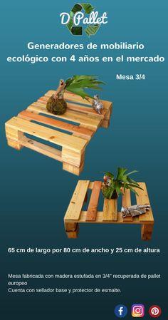 Mesa de centro en terminado natural semi mate, fabricado en pallet europeo