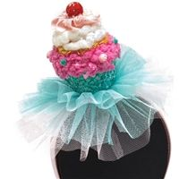 Pink Cupcake Birthday Party Headband with Tulle Trim