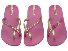 NIB Ipanema Pink and Gold Pair of 3 Flipflops Pink Und Gold, Flipflops, Gold Skull, Pink Sparkly, Walk This Way, Beach Sandals, Summer Wear, Rock, Lady
