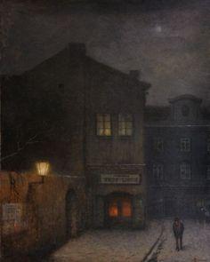 Old Prague Nocturno, Jakub Schikaneder. Nocturne, Prague, Jakub Schikaneder, Carl Spitzweg, Bohemian Art, City Art, Dark Art, Oeuvre D'art, Light In The Dark