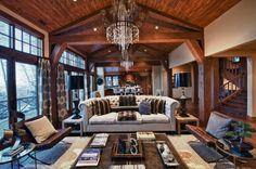 Rustic Glam! Light fixture, ceiling, windows!