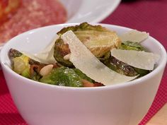 Roasted Brussels Sprouts with Bacon Recipe : Anne Burrell : Food Network - FoodNetwork.com
