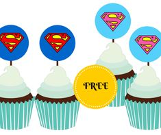 FREE Printable Supergirl and Superman Cupcake Toppers DOWNLOAD - http://www.magicalprintable.com/downloads/free-supergirl-superman-printables/