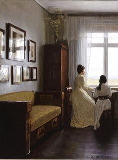 """""""Interior"""", 1901, by Georg Nicolaj Achen (Danish, 1860-1912) look at the light reflecting on the paintings on the wall. spectacular"""