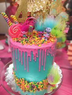 Troll birthday party cake