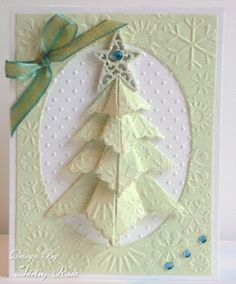 handcrafted Christmas card from Card Art, Etc.: Parade of Trees ... unit origami tree ... embossing folder textures ... wonderful!!