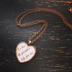jack sparrow pirates of the caribbean quote heart necklace