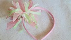 1 HAIRBAND PLAYFUL PINK PARTY DANCE RIBBON HAIR SCRUNCHIE ALICE HEADBAND