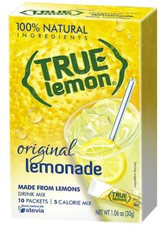 True Lemon  100% natural sweetened with Stevia. Lemons are cold pressed & crystallized to lock in flavor.  Individual packets. Fresh lemon taste.