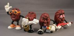 California Raisin figures, 1988. I had the one with the saxophone - he lived in my sax case for many moons. Wonder what ever happened to him?