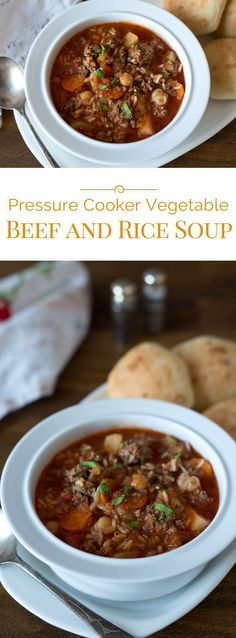 This Pressure Cooker Vegetable Beef and Rice Soup is a delicious, hearty meal that comes together quickly and is on the table in a flash.