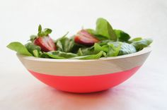 Wooden Salad Bowl 7 Neon PINK by WindandWillowHome on Etsy, $32.00