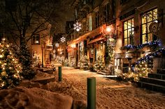 quebec city's petit champlain neighbourhood at christmas. established in 1608, it is the oldest commercial district in north america.