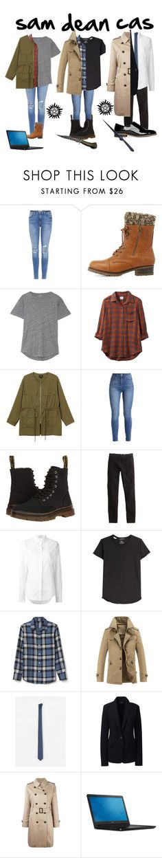 """sam dean and cas genderbent outfits"" by marthaswilliams ❤ liked on Polyvore featuring Frame, Charlotte Russe, Madewell, RVCA, Monki, Dr. Martens, J.Crew, Anthony Vaccarello, Alexander McQueen and MANGO"