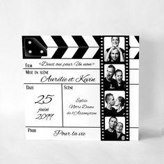 """Faire-part Mariage Original """"Ca tourne !"""" #mariage #fairepartmariage #mariagethemecinema #fairepartcinema #clapmariage #fairepartpellicule Wedding Party Invites, Wedding Tags, Our Wedding, Party Invitations, Love Wedding Themes, Wedding Venue Decorations, Birthday Scrapbook, Birthday Cards, Matchbox Crafts"""