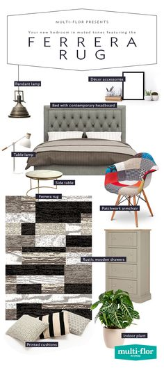 The Ferrera Rug's character is in its block pattern and gradations. Here's how it fits in when your bedroom's colour palette is kept simple. Size: x Bedroom Colour Palette, Bedroom Colors, Side Table Lamps, Geometric Designs, Pattern Blocks, Pendant Lamp, Decorative Accessories, Armchair, Indoor