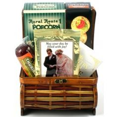 Wedding giftcheers to the newlyweds romantic gift basket your big day this beautiful handcrafted trunk arrives filled with toasted butter crackers smoked sciox Choice Image