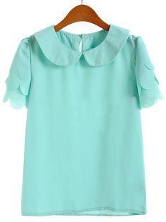 Green Ruffles Short Sleeve Lapel Chiffon Blouse - Sheinside.com