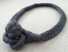 Braided Fabric Necklace in Charcoal Gray. £32, via Etsy.