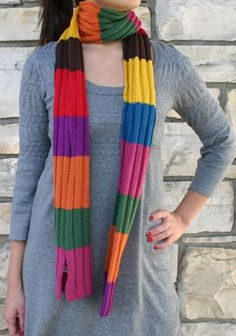 Striped Knitted Scarves, Long stripe print scarf for fashion girls, Stripe Knitted Scarves in 2013 Fall/Winter. #stripe #knit #scarf www.loveitsomuch.com
