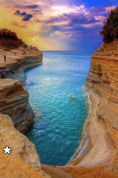 Canal d' Amour beach, Sidari, Corfu island Ionian sea, Greece Dream Vacations, Vacation Spots, Vacation Travel, Solo Travel, Places To Travel, Places To See, Travel Destinations, Travel Tips, Greek Isles