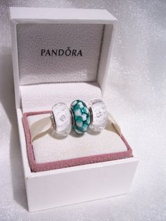 Authentic Pandora 1 Teal Lattice With 2 Clear by JEWELSELAGANT, $80.00