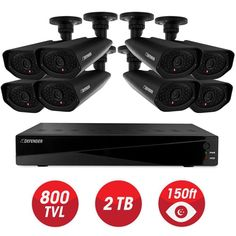 Defender Connected Pro 8-Channel 960H 2TB Surveillance System with (8) Wired 800 TVL Camera