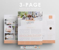 Trois pages Media Kit modèle | Appuyez sur le modèle de Kit | Dossier de presse électronique | Instant Digital Download (MS Word) | « Maman Blogger »