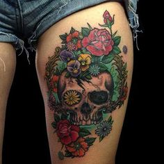 Skull and flower thigh tattoo - 55 Thigh Tattoo Ideas  <3 <3