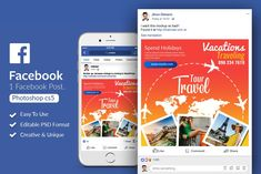 Tour Travel Facebook Post Banner by Design Up on @creativemarket