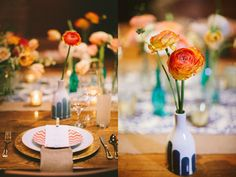 This wedding had wonderful decor - plates, vases, treats, etc.